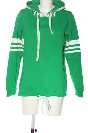 Basefield Felpa con cappuccio verde-bianco motivo a righe stile casual