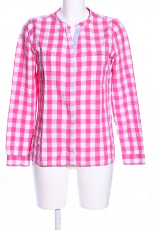 Basefield Geruite blouse roze-wit volledige print casual uitstraling