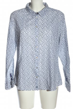 Basefield Langarmhemd weiß-blau Allover-Druck Casual-Look