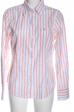 Basefield Camicia a maniche lunghe bianco-verde motivo a righe stile casual