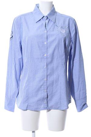 Basefield Langarmhemd blau Motivdruck Business-Look