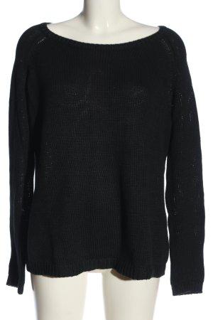 Basefield Kraagloze sweater zwart casual uitstraling