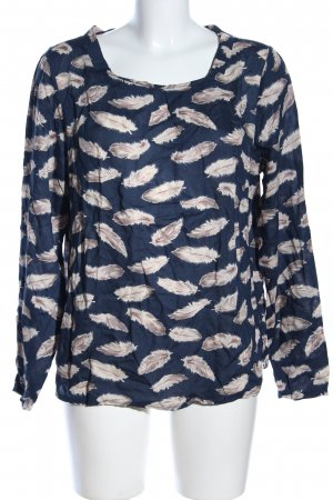 Basefield Schlupf-Bluse blau-wollweiß abstraktes Muster Casual-Look