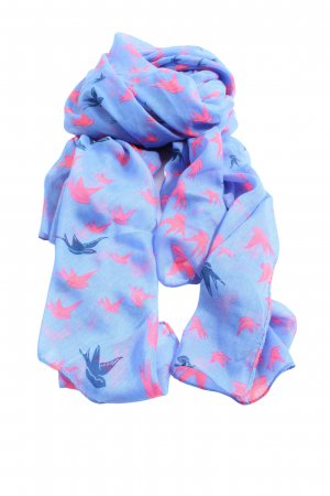Basefield Shoulder Scarf blue-pink allover print casual look