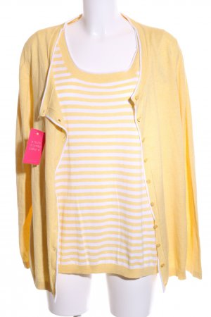 Basefield Knitted Twin Set primrose-white striped pattern casual look