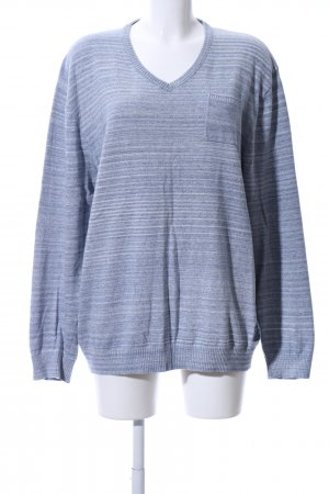 Basefield V-Neck Sweater blue striped pattern casual look