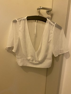 SheIn Camisa recortada blanco