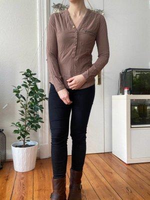 Basic Bluse braun Fresh Made Gr.S mit Knöpfen Langarm
