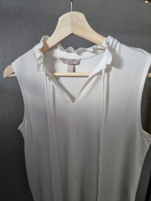 Basic Bluse weiß creme H&M Rüschchen Bänder Kordel