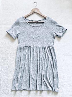 Basic Casual Stretch Strick Kleid grau meliert Gr. M