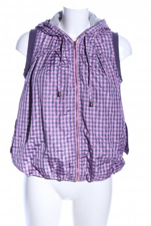 Hooded Vest lilac-pink check pattern casual look