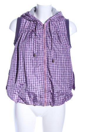 Chaleco con capucha lila-rosa estampado a cuadros look casual