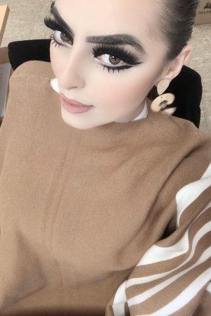 Poncho marrone-bianco