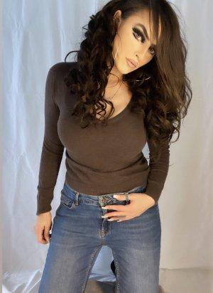 basic hochwertiger pullover in braun