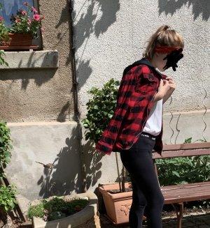 H&M Veste à capuche noir-rouge