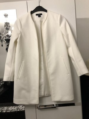 basic klassischer longblazer / trenchcoat in weiß