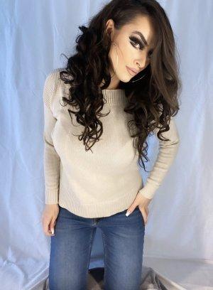 basic klassischer pullover in creme/hellbeige