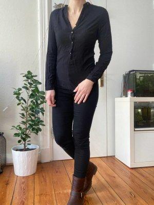 Basic Langarm Bluse von Zara Gr.S Schwarz mit Knöpfen