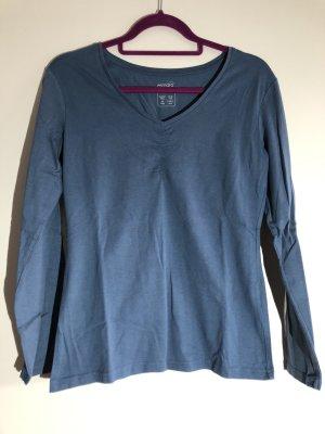 Basic Langarm Shirt blau, V-Ausschnitt, Gr. M 40/42, esmara
