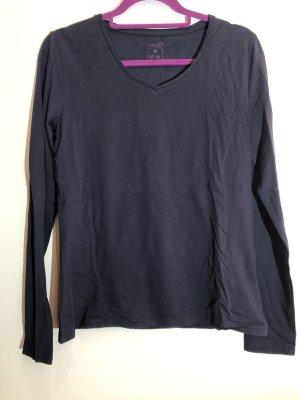 Basic Langarm Shirt dunkelblau, V-Ausschnitt, Gr. M 40/42, esmara