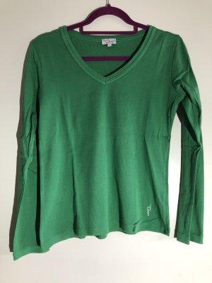 Basic Langarm Shirt mit V-Ausschnitt grün, Gr. L, my Own