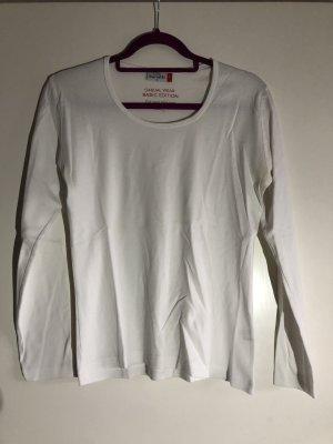 Basic langarm Shirt weiß, Gr. M, Gina Benotti