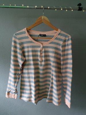 Basic Langarmshirt dünner Pulli Pullover gestreift Streifen grau rosa apricot
