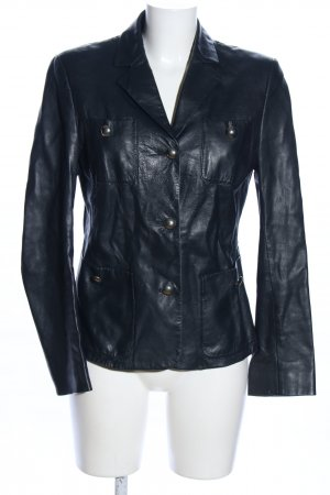 Basic Lederjacke schwarz Casual-Look