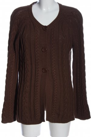 Basic Line Cardigan brown cable stitch casual look