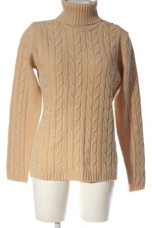Basic Line Sweter z golfem nude Warkoczowy wzór W stylu casual