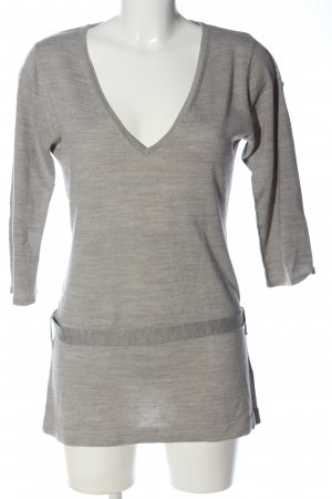 Basic Line V-Neck Sweater natural white flecked casual look
