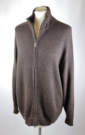 Basic Long Strickjacke Cadrigan Gardeur Größe L 40 42 Dunkelbraun Braun Alpaka Wolle Stehkragen Jacke