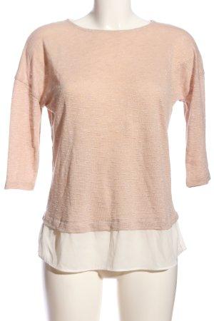 Basic Manica lunga rosa-bianco puntinato stile casual
