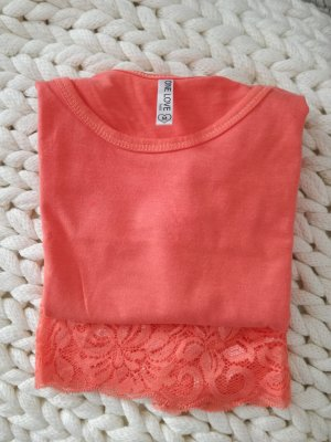 Basic Longtop/Tanktop mit Spitze in Apricot