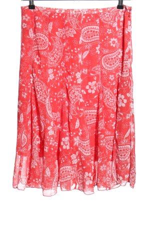 Basic Jupe mi-longue rouge-blanc imprimé allover style décontracté