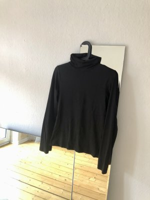 Basic Rollkragen Shirt, glatter Stoff schwarz