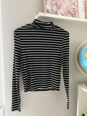 H&M Koszulka z golfem czarny-biały