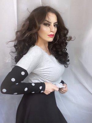 basic shirt in grau schwarz weiß gepunktet, gr. M/L