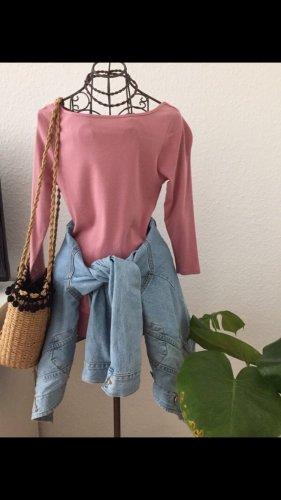 Basic Shirt in rosa Kasten Ausschnitt 3/4 Ärmel