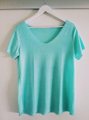 Basic-Shirt, kurzarm türkis, V-Ausschnitt, von Größe 36 bis 42 zu tragen
