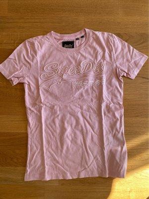 Basic shirt mit Schriftzug von super dry in babyrosa