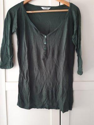 Pull & Bear Camiseta Básico verde bosque-caqui Algodón
