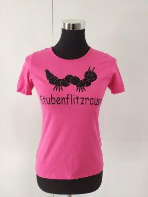 Basic Shirt T-Shirt pink mit Raupenprint