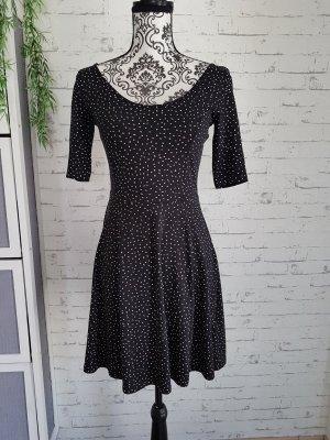 Basic Sommer Kleid Gr 36 S schwarz mit Pünktchen H&M