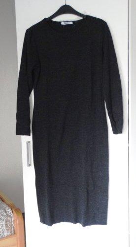 Basic Strickkleid Pulloverkleid midi Anthrazit