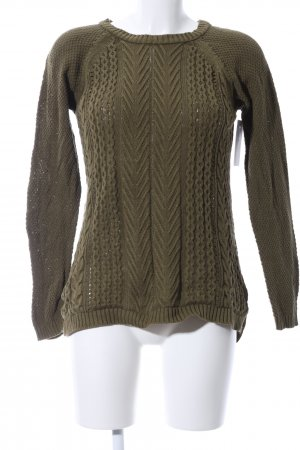 Basic Knitted Sweater khaki cable stitch casual look