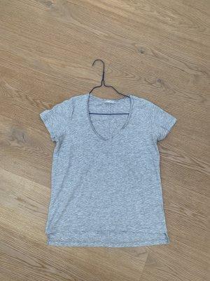 Zara Koszulka z dekoltem w kształcie litery V jasnoszary