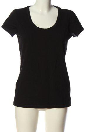 Basic T-shirt czarny W stylu casual