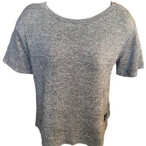 Basic T-Shirt Grau Reißverschluss Sixth June