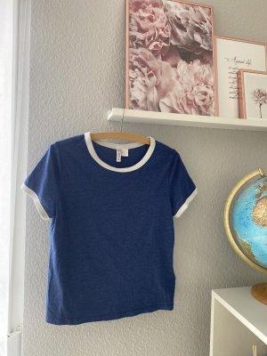 Basic T-Shirt in blau mit Rundkragen